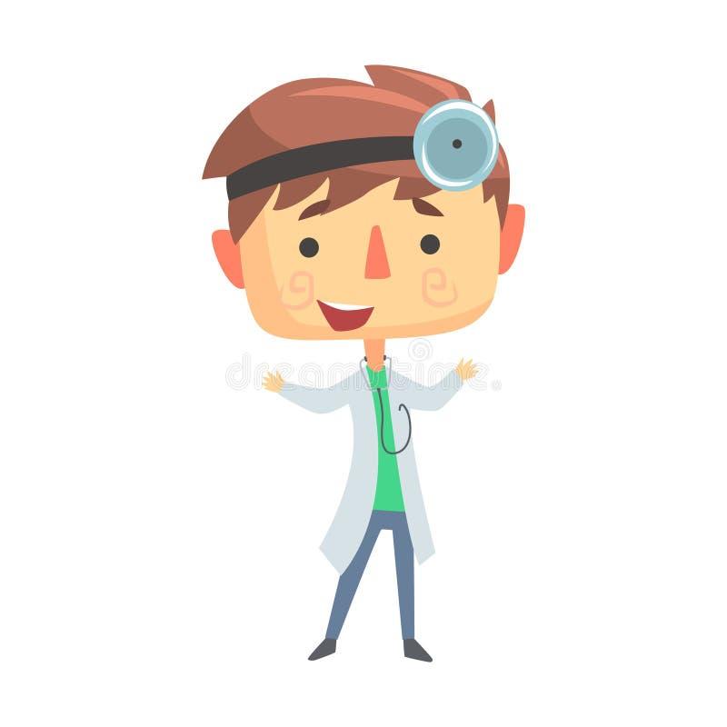 Medico del ragazzo, illustrazione professionale di sogno futura di occupazione dei bambini illustrazione di stock