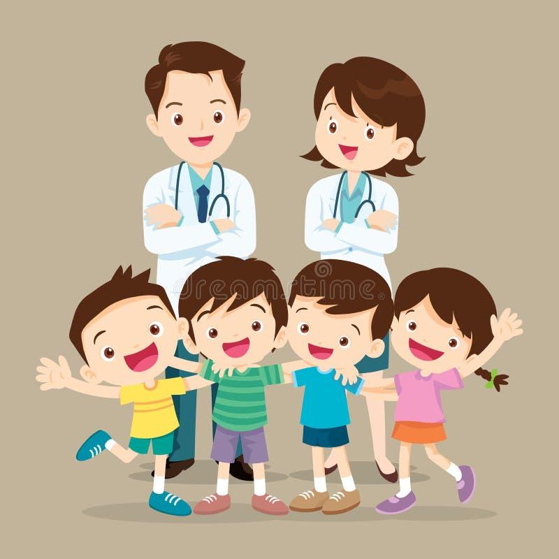 Medico e bambino sveglio felici illustrazione di stock