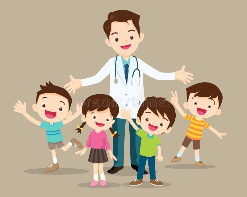 Medico e bambino sveglio felici royalty illustrazione gratis