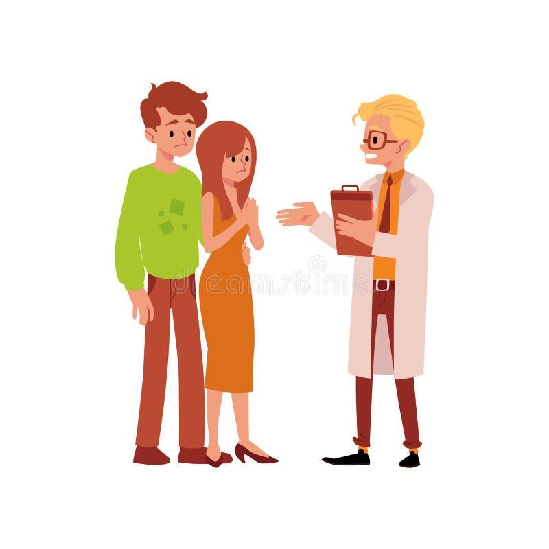 Medico e la famiglia che hanno illustrazione piana di vettore di problemi della sterilità hanno isolato illustrazione di stock