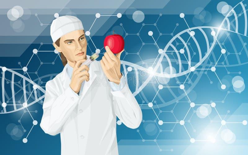 Medico fa la modifica del gmo ad una mela illustrazione vettoriale