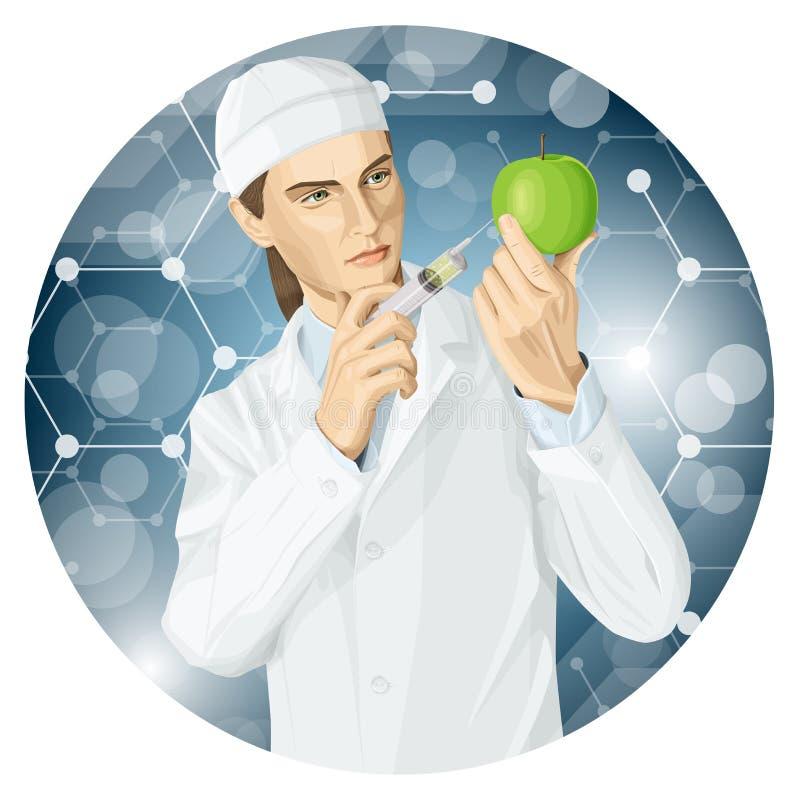 Medico fa la modifica del gmo ad una mela illustrazione di stock