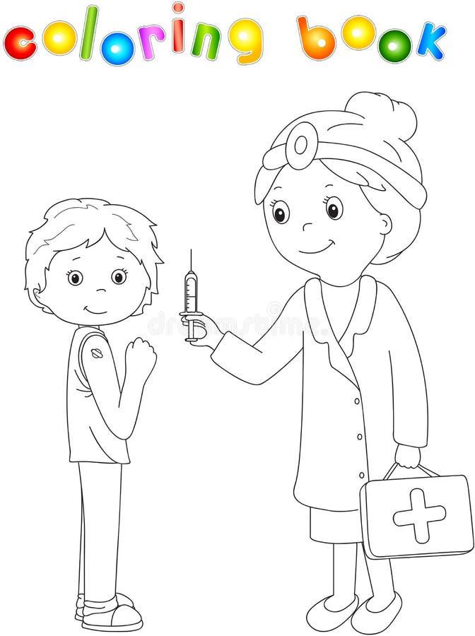 Medico fa la vaccinazione al paziente Libro da colorare per i bambini illustrazione vettoriale