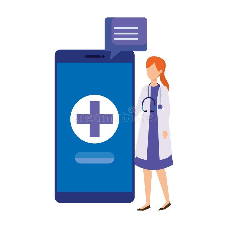 Medico femminile con lo smartphone ed il fumetto royalty illustrazione gratis