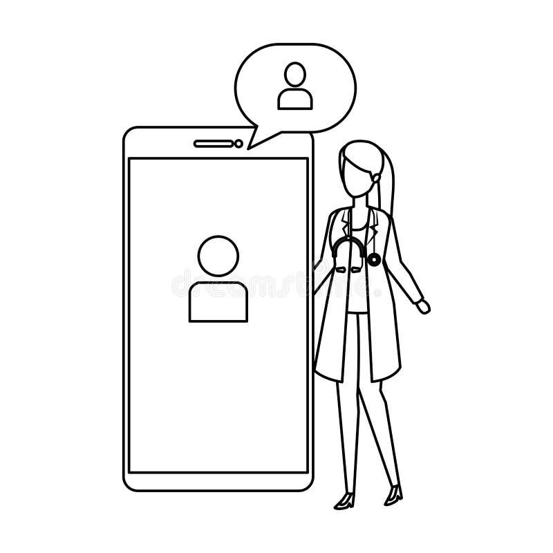 Medico femminile con lo smartphone ed il fumetto illustrazione di stock