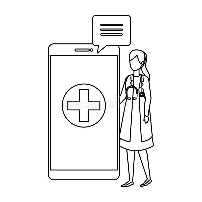 Medico femminile con lo smartphone ed il fumetto illustrazione vettoriale