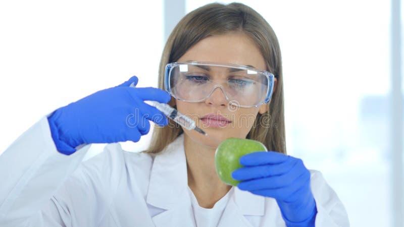 Medico femminile, scienziato che inietta mela con il prodotto chimico, reazione immagine stock libera da diritti