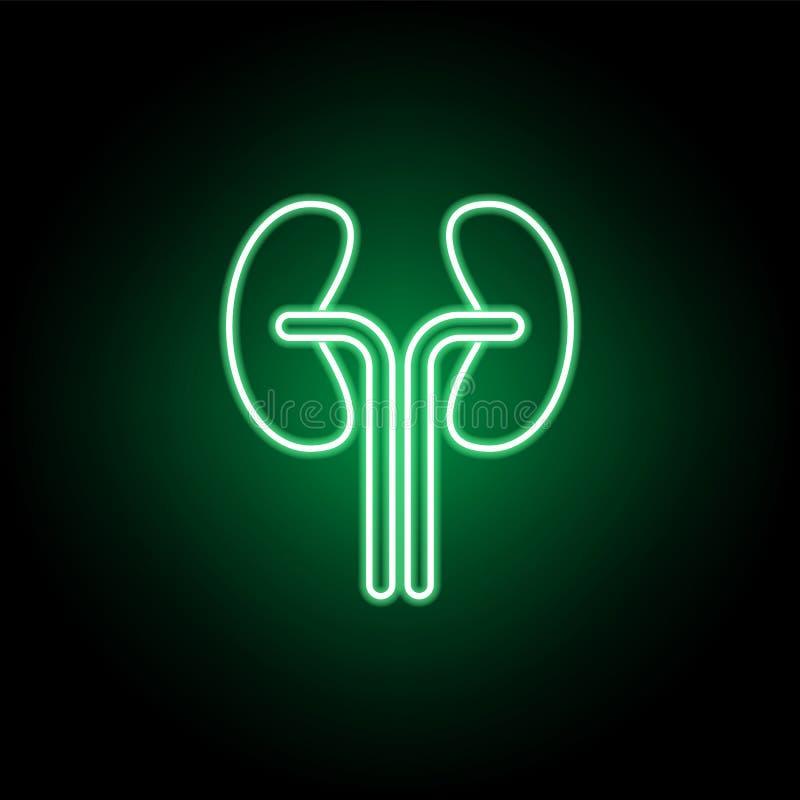 Medico, icona dei reni nello stile al neon Elemento dell'illustrazione della medicina I segni e l'icona di simboli possono essere illustrazione di stock