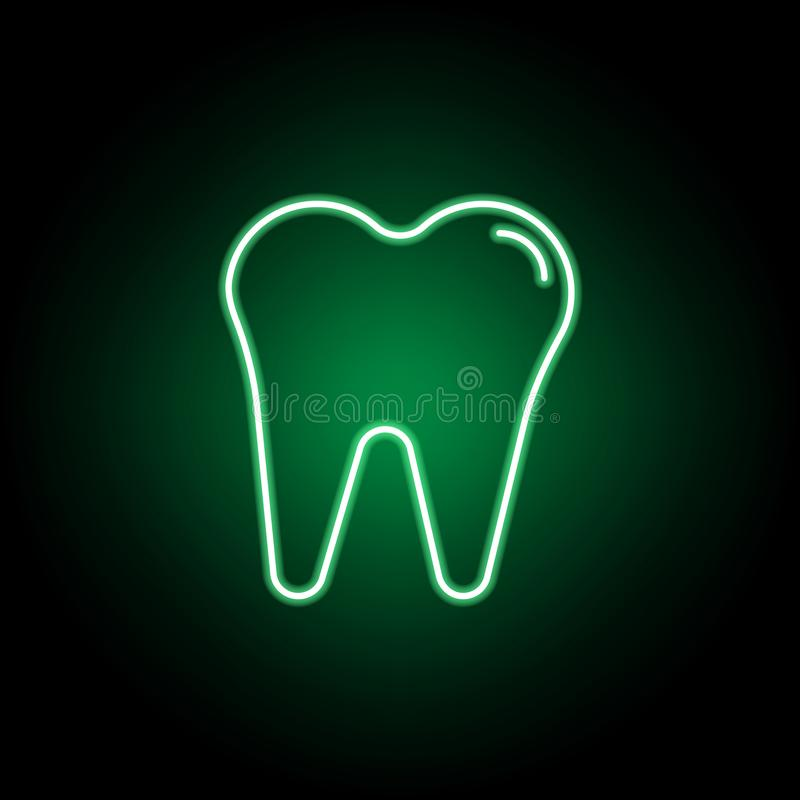Medico, icona del dente nello stile al neon Elemento dell'illustrazione della medicina I segni e l'icona di simboli possono esser royalty illustrazione gratis