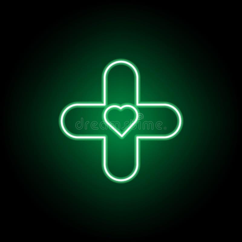 Medico, icona dell'ospedale nello stile al neon Elemento dell'illustrazione della medicina I segni e l'icona di simboli possono e illustrazione vettoriale