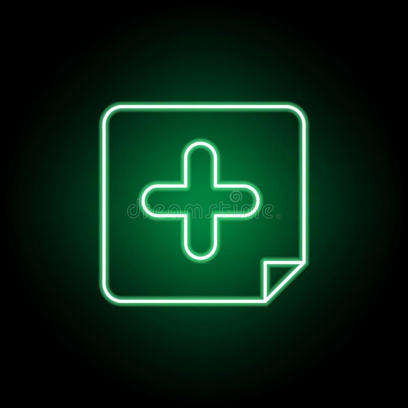 Medico, icona dell'ospedale nello stile al neon Elemento dell'illustrazione della medicina I segni e l'icona di simboli possono e illustrazione di stock