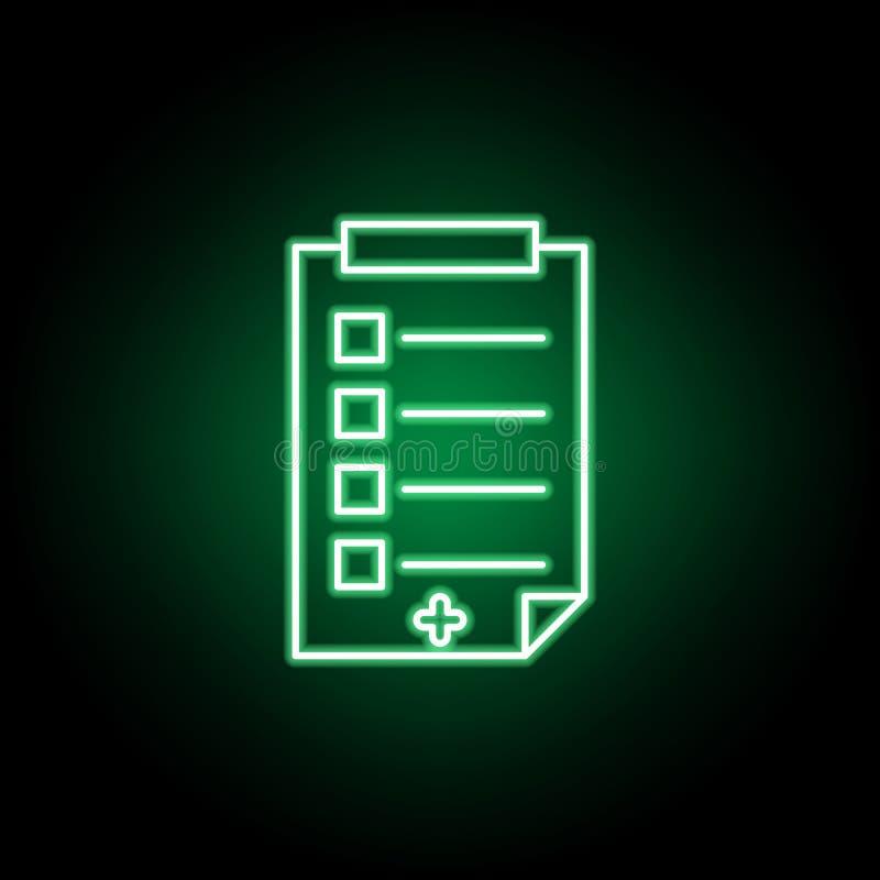 Medico, icona di rapporto nello stile al neon Elemento dell'illustrazione della medicina I segni e l'icona di simboli possono ess illustrazione vettoriale