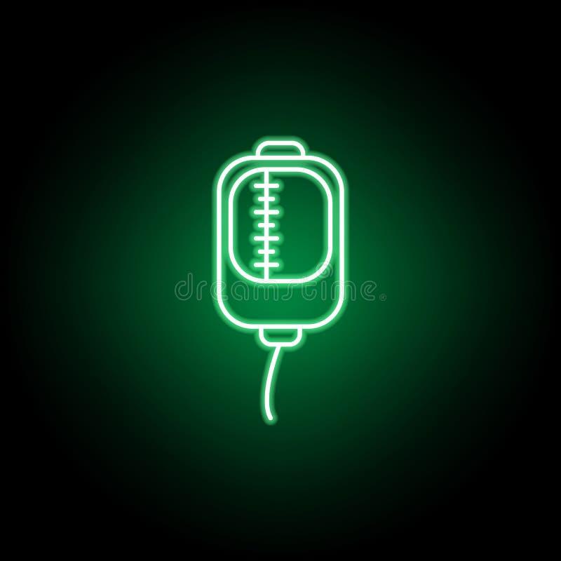 Medico, icona di trasfusione nello stile al neon Elemento dell'illustrazione della medicina I segni e l'icona di simboli possono  illustrazione vettoriale
