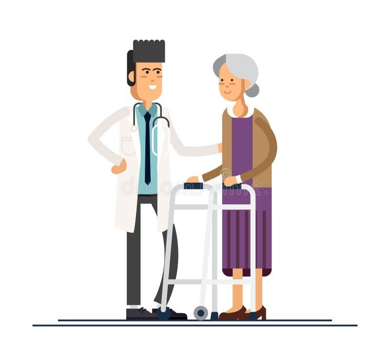Medico maschio aiuta sua nonna a andare al camminatore Occupandosi degli anziani Illustrazione di vettore illustrazione di stock