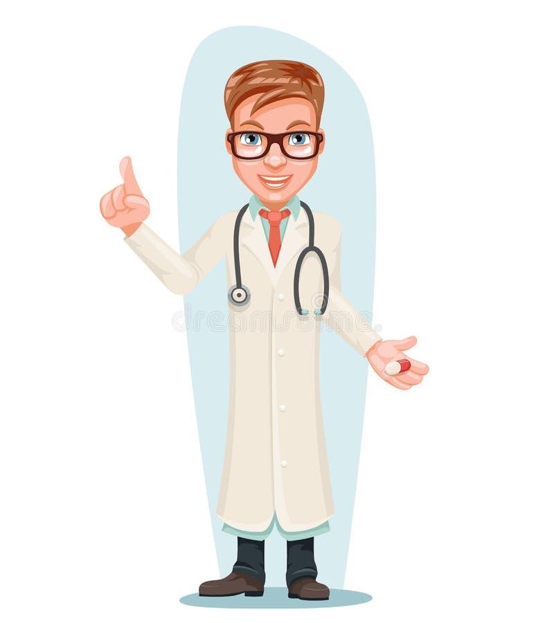 Medico maschio con l'indice di trattamento di qualità della mano della medicina della pillola sull'illustrazione di vettore di pr illustrazione vettoriale