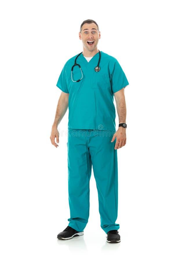 Medico: Medico maschio emozionante e sorridente fotografia stock
