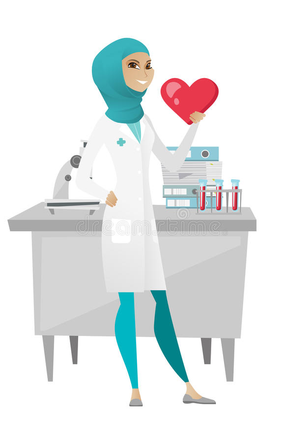 Medico musulmano che tiene un grande cuore rosso royalty illustrazione gratis