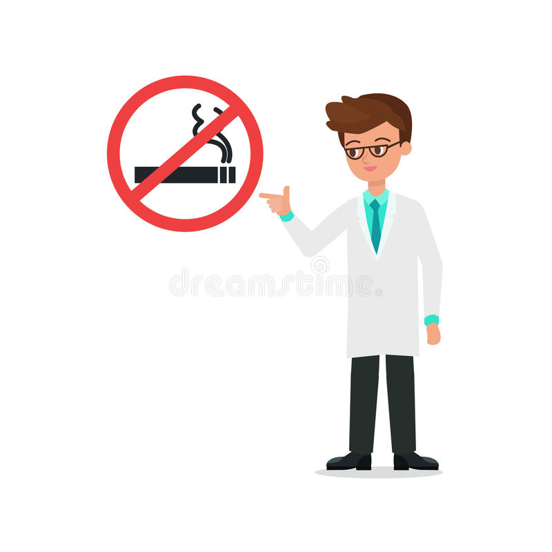 Medico nell'indice del vestito al vettore non fumatori del segno ed al briciolo isolato illustrazione di stock