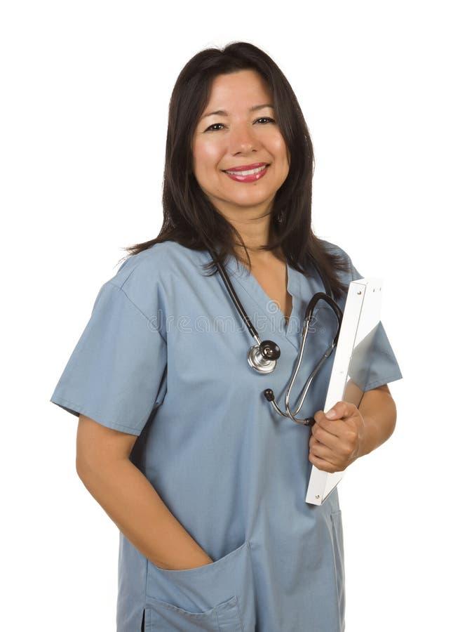 Medico o infermiera ispanico attraente immagine stock libera da diritti