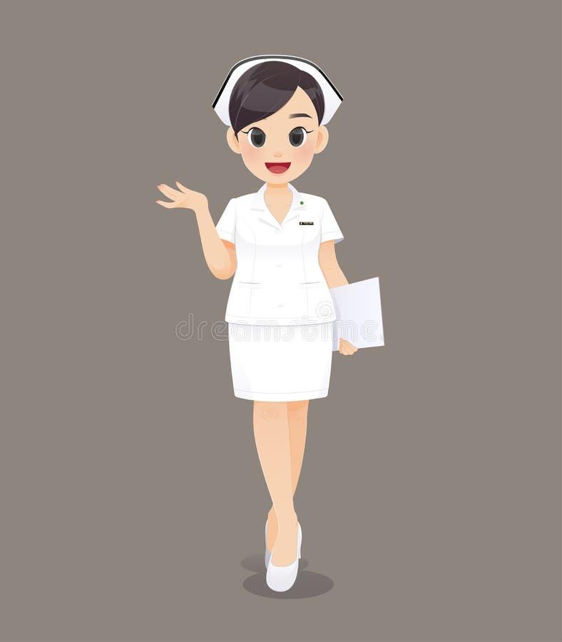 Medico o infermiere della donna del fumetto in uniforme bianca illustrazione vettoriale