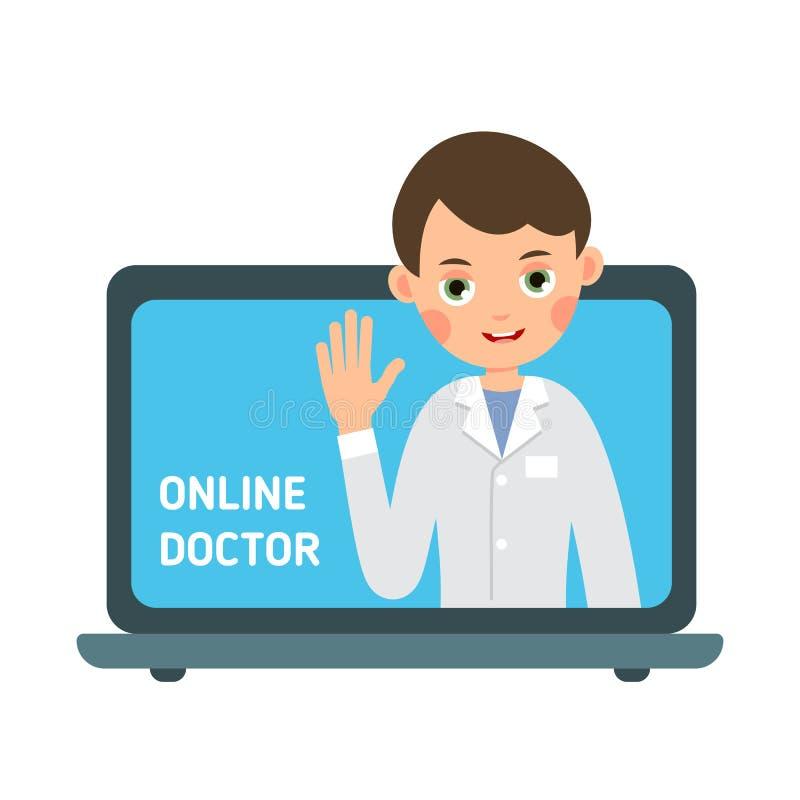 Medico online Tecnologia della comunicazione di informazioni Aiuto e supporto medici online Moderno consulti medico via Internet royalty illustrazione gratis