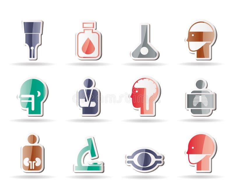 Medico, ospedale ed icone di sanità illustrazione vettoriale