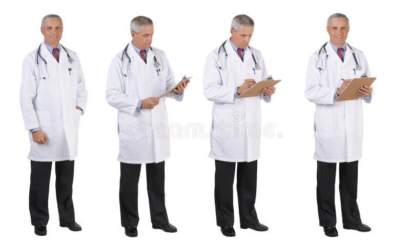 Medico pose differenti integrali del cappotto del laboratorio nelle quattro fotografia stock libera da diritti