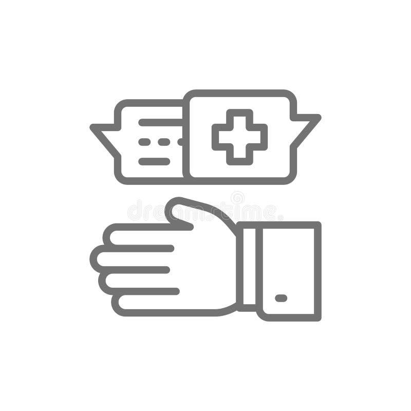 Medico prescrive la medicina, specialista medico prescrive la linea icona del trattamento illustrazione vettoriale
