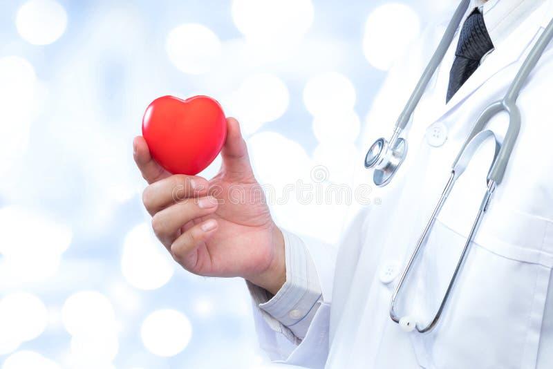 Medico professionista che tiene una palla rossa del cuore su sfuocatura fuori fotografia stock libera da diritti
