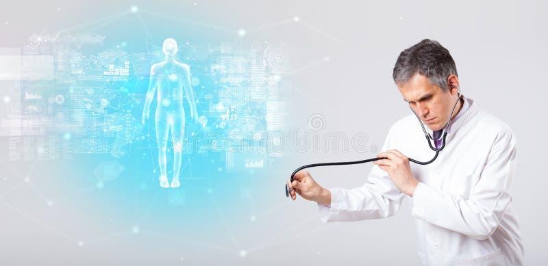 Medico professionista con il concetto completo della mappa del corpo immagine stock libera da diritti