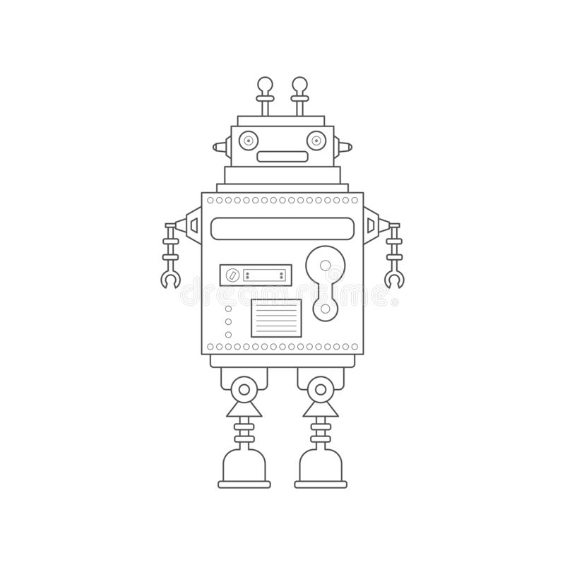 Medico robot di vettore sveglio nella linea stile royalty illustrazione gratis