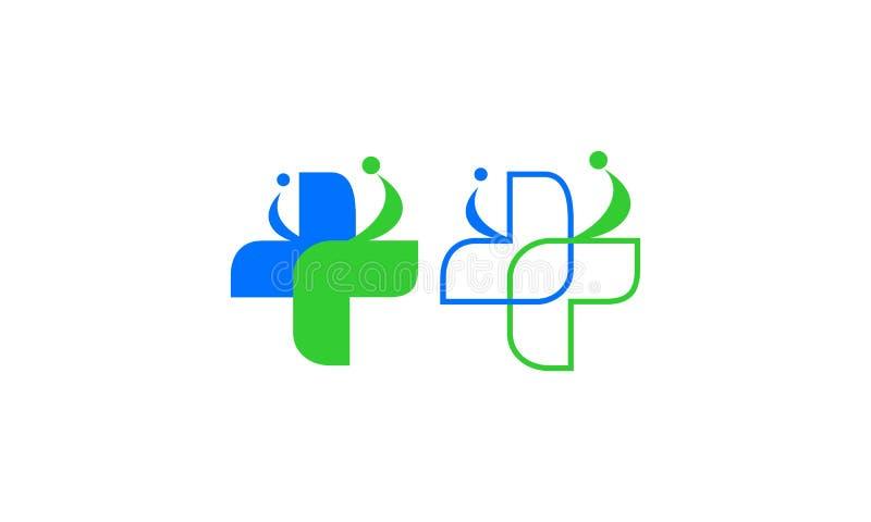 Medico, sano, concetto di logo della clinica royalty illustrazione gratis