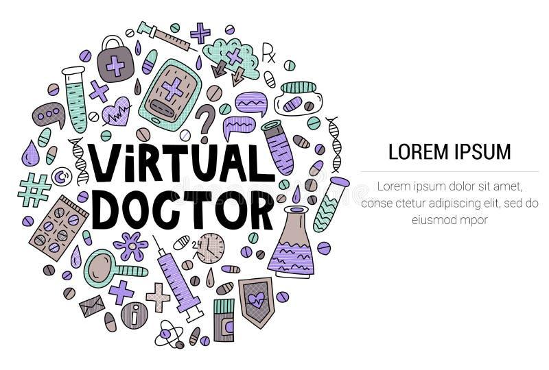Medico virtuale Segnando con gli scarabocchi nella forma del cerchio fotografia stock