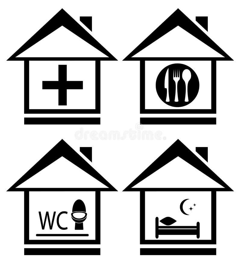 Medico, wc, alimento e letto sull'icona domestica illustrazione vettoriale