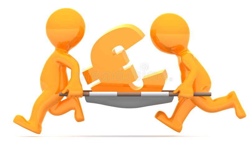 Download Medics Carrying Euro Currency Sign. Stock Illustration - Image: 20117854