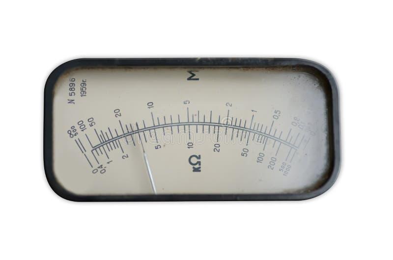 Medida análoga velha do equipamento da seta do indicador imagem de stock