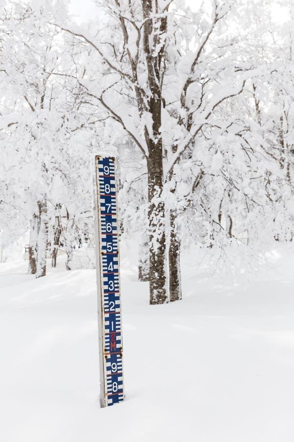 Medida da altura da neve imagem de stock