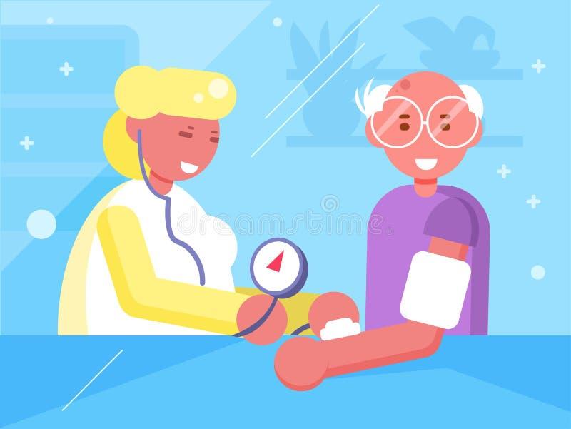 Medida da pressão sanguínea no doutor Vetora cartoon Arte isolada ilustração royalty free