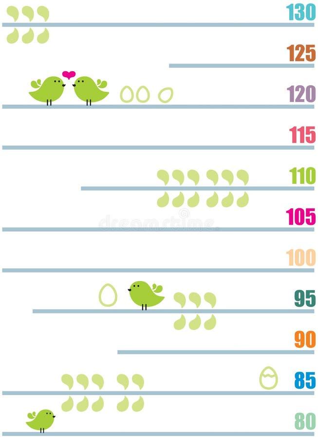 Medida de crecimiento de los niños. stock de ilustración