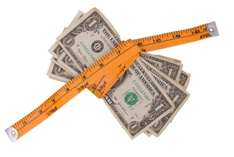 Medida de fita do dinheiro imagens de stock