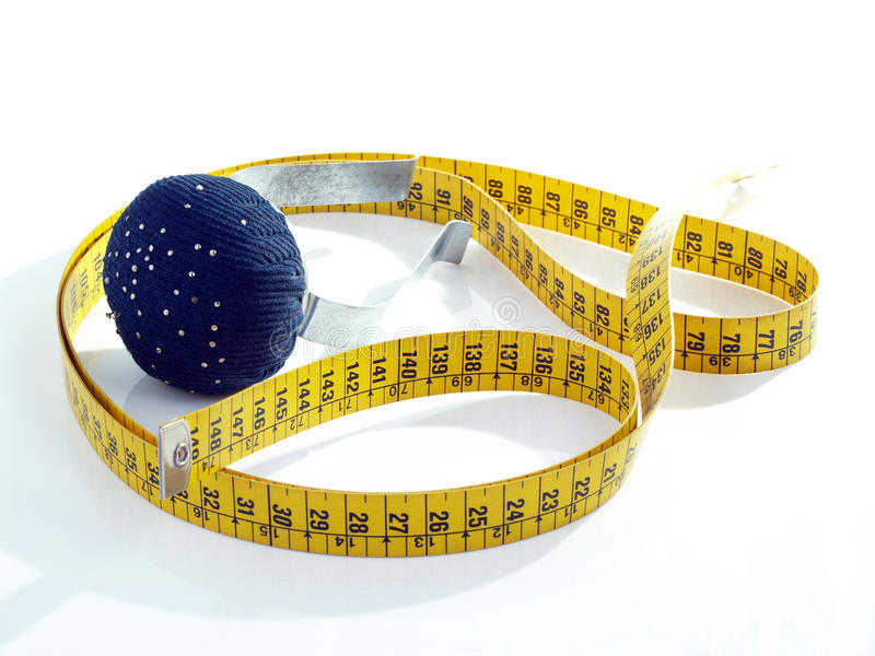 Medida de fita e sustentação do braço para agulhas. fotos de stock royalty free