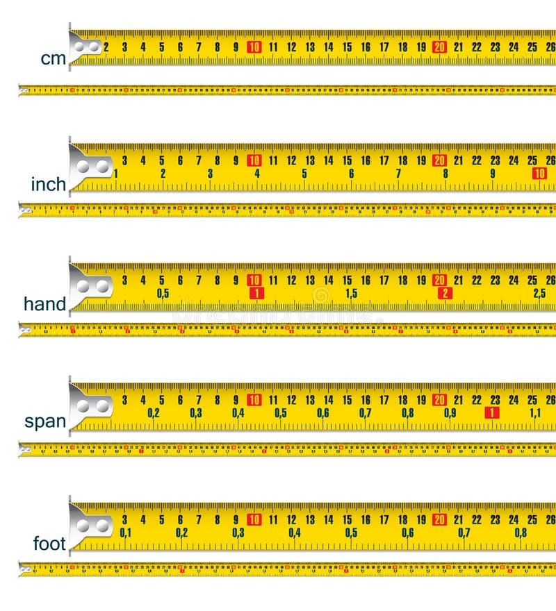 Medida de fita no cm, na polegada, na mão, na extensão e no pé ilustração do vetor