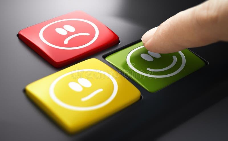 Medida Directa De La Satisfacción Del Servicio Al Cliente Encuesta de botones pulsados imagen de archivo libre de regalías