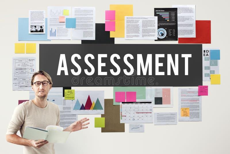 Medida do conceito do exame da análise da auditoria da avaliação imagem de stock