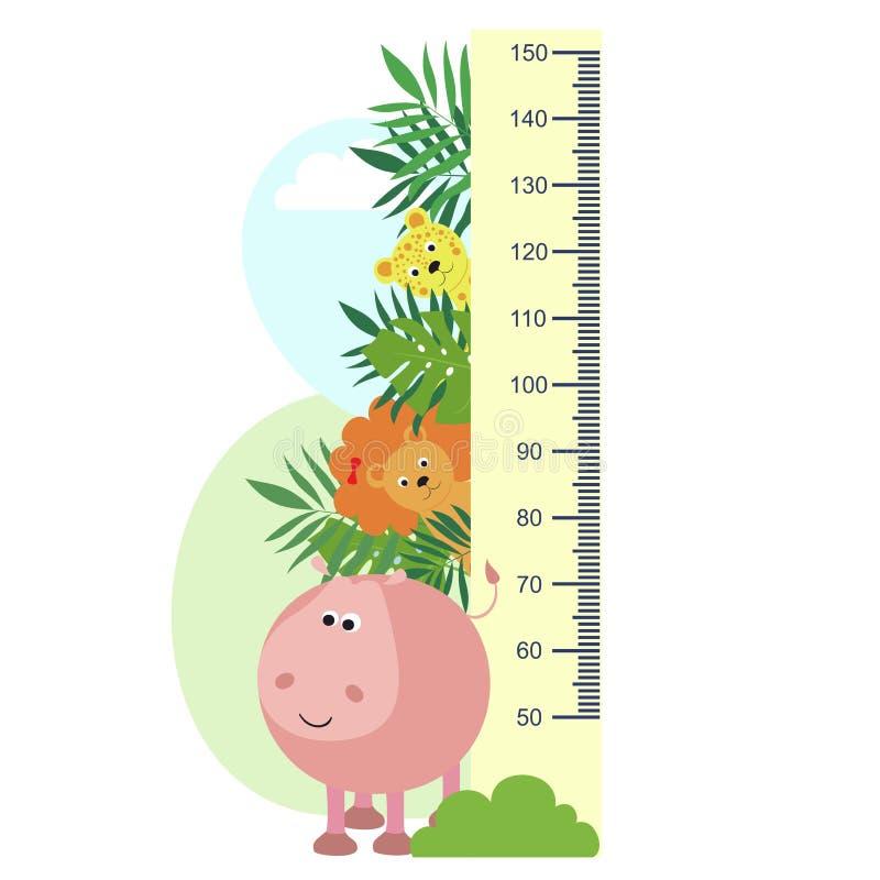 Medida do crescimento, animais nas folhas tropicais, medidas do ` s das crianças, altura ilustração royalty free
