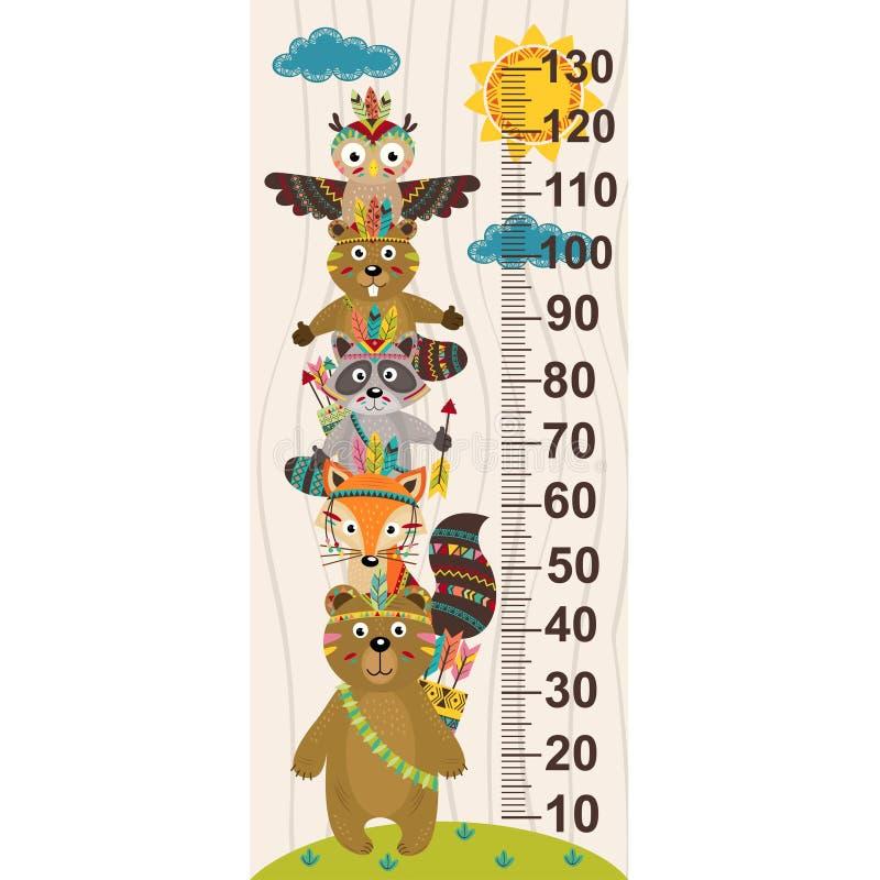 Medida do crescimento com animal tribal ilustração stock