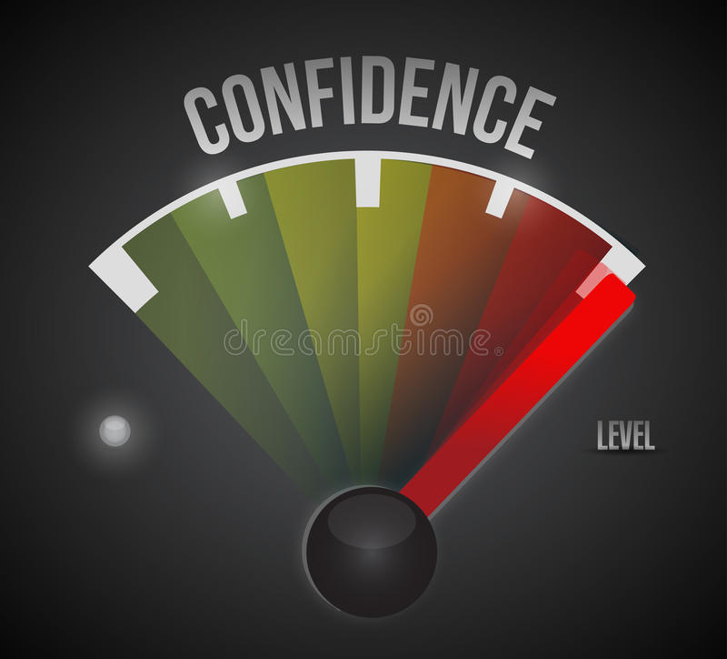 Medida do medidor do nível de confiança do ponto baixo à elevação ilustração royalty free