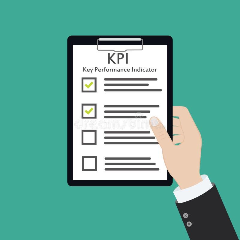 Medida hora del plan de la estrategia de evaluación del concepto del negocio del indicador de rendimiento clave de Kpi stock de ilustración