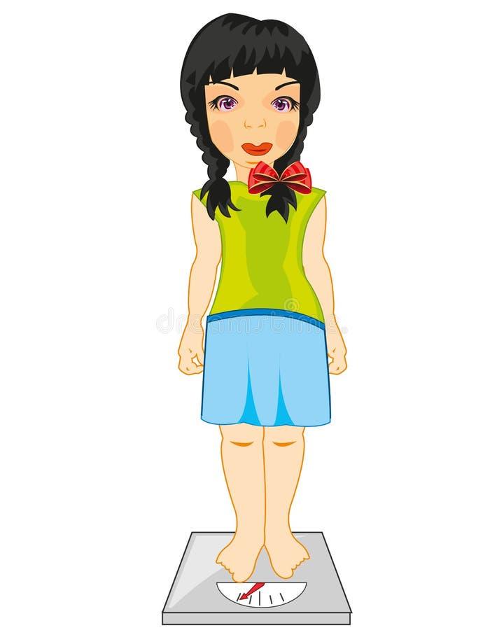 Medidas del adolescente de la muchacha su peso en peso ilustración del vector