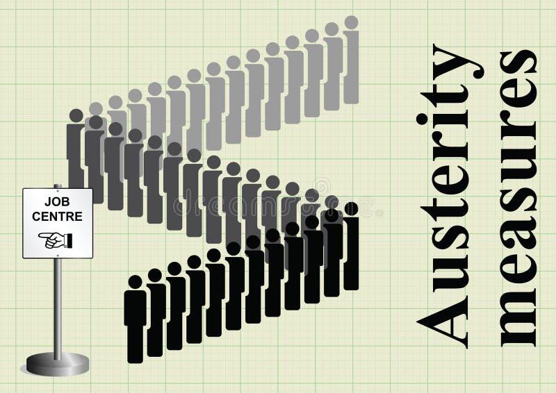 Medidas e cortes de empregos de austeridade ilustração stock